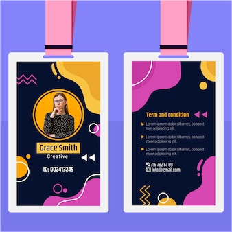 Id card template with abstract shapes