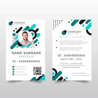 Id card template with abstract style