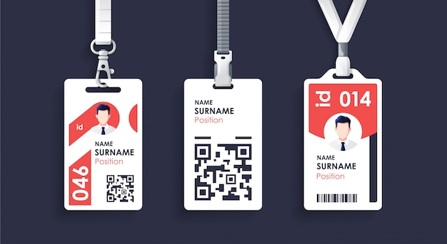 Id card template with clasp and lanyard. employee id. simple realistic design.