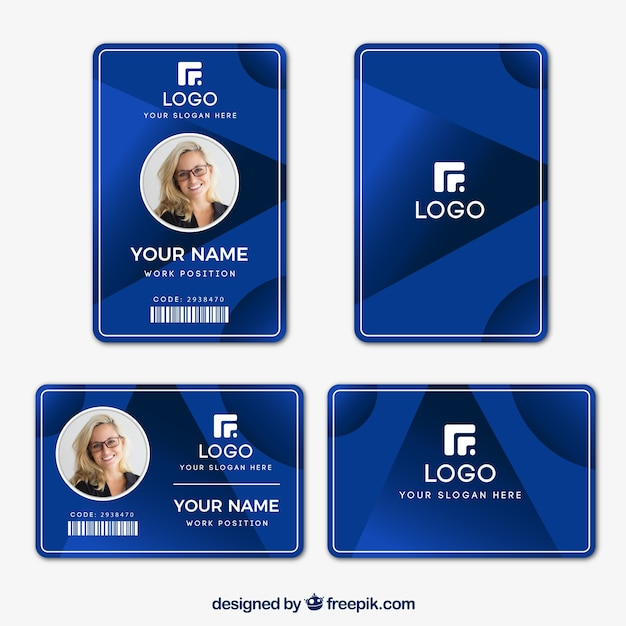 Free Id card template with flat design SVG DXF EPS PNG - SVG