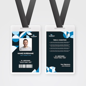 Id card template with minimal shapes