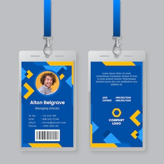 Id card template with photo