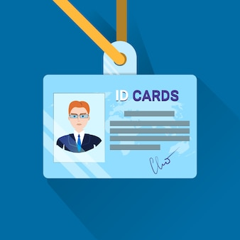 Id card user or worker identification badge for adult business man or boss