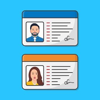 남성과 여성의 id 카드. 개인의 정체성에 대한 아이디어