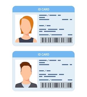 Idカード。女性と男性のプラスチック製の身分証明書、運転免許証。企業ドキュメントフラットベクターテンプレートを確認します。イラストドキュメントidプラスチック、公式id