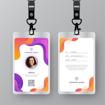 Id cards template with photo abstract design