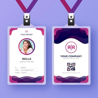 Id cards template with photo abstract style