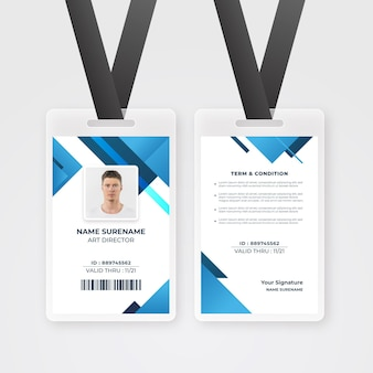 Modello di carte d'identità con foto