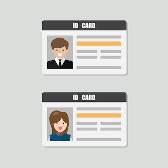 Id cards with male and female photo vector illustration. flat style personal identity