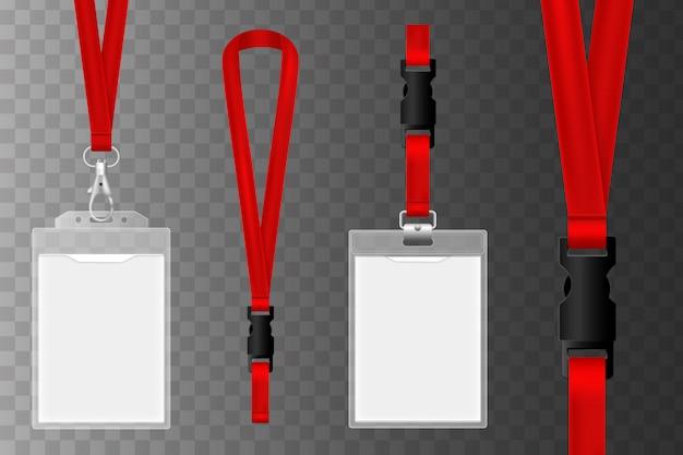 識別のためのidカードのテンプレート。 idプラスチックカード。空白の識別、ホルダー付きの認証セキュリティカードタグ
