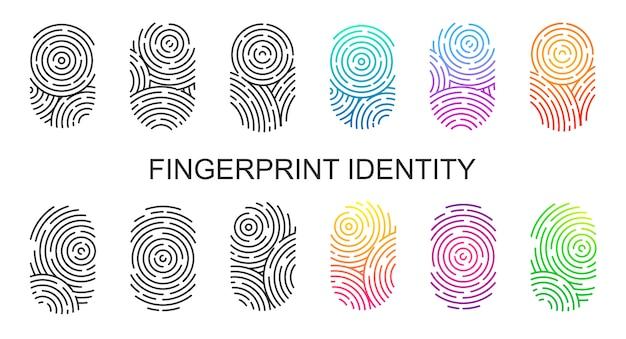 白い背景に分離された黒と色の指紋のセット。親指の指紋または個人id、警察またはセキュリティ用の固有の生体認証id。