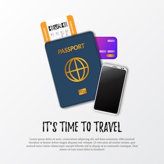 旅行の時間です。パスポートの出入国管理id、搭乗券の飛行機のチケット、smarphone、および支払いのためのクレジットカードのイラスト。