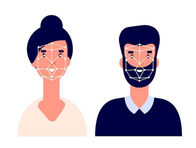 아이디 시스템. 얼굴 식별, 평면 생체 인식 기술. 얼굴 인식 또는 신원 액세스 프로필. 안전 확인 벡터 개념입니다. 일러스트 인식식별, 안전id