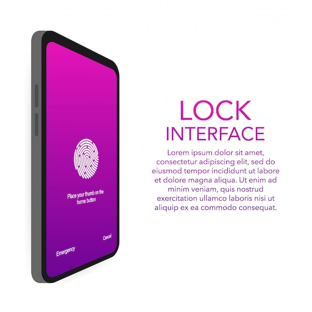 画面ロック認証パスワードのスマートフォンテンプレート。電話id認識画面のロックパスワードまたはロック画面のパスコード番号の表示。
