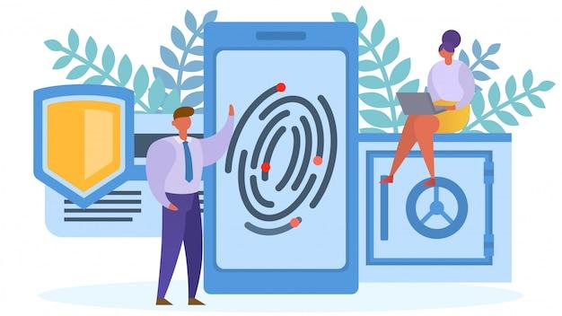 スマートフォンのコンセプト、イラストに指紋保護アクセス。セキュリティ技術、ネットワークidの安全性。データ