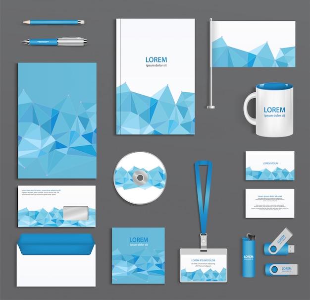 三角形の顔、会社スタイル、デザイン要素の要約を持つ青い企業idテンプレート。