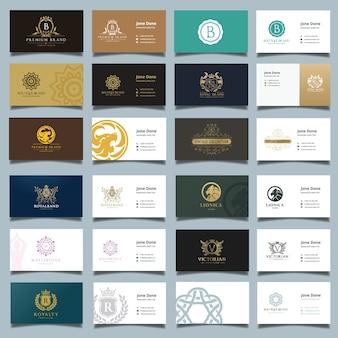ビジネスカードとブランドidテンプレート。ロゴコレクションセット。