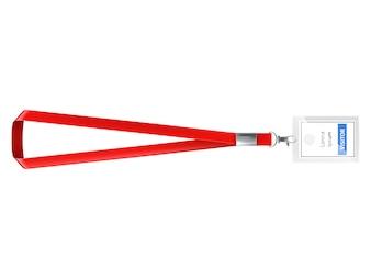 赤いストラップ付きの空白のプラスチック製のidカード