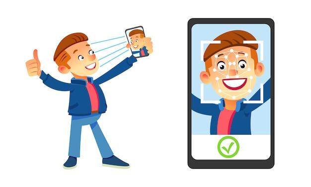 顔認識のコンセプト。顔id、顔認識システム。人間の頭と画面上のアプリをスキャンでスマートフォンを保持している男。最新のアプリケーション。