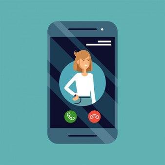 画面上の女性の発信者idを携帯電話で着信の概念図とボタンを受け入れるまたは拒否します。