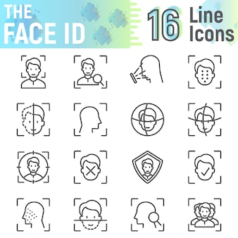 Набор иконок линии id лица, коллекция символов распознавания лиц