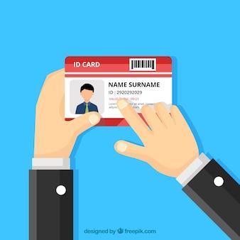 手、idカードを持っての背景