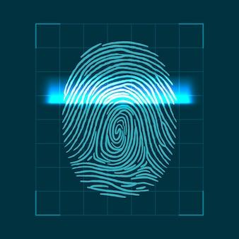指紋をスキャンするための抽象的な幾何学的な概念。個人id検証