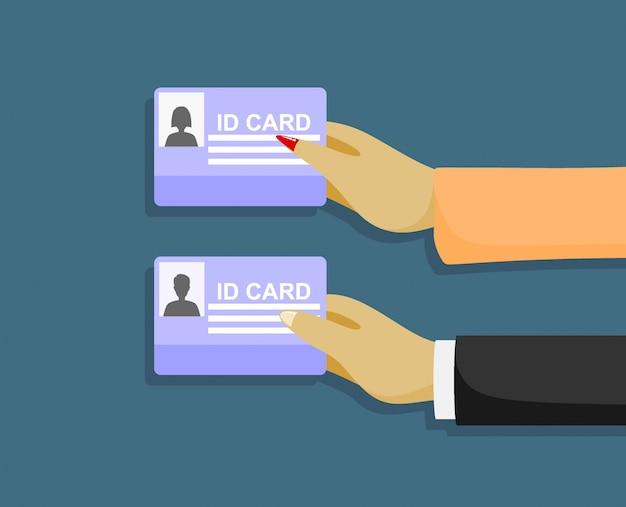 Мультфильм бизнесмен рука id-карты.