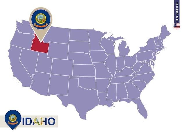 Idaho state on usa map. idaho flag and map. us states.