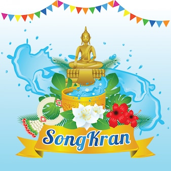 Idea art decorative of song kran day