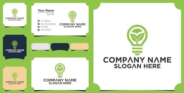 アイデア球根創造性ロゴテンプレートと名刺 Premiumベクター