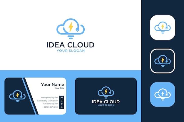 램프 로고 디자인 및 명함이 있는 아이디어 클라우드 크리에이티브