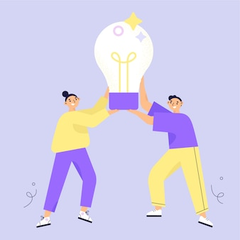 Idea concept. brainstorming. two characters woman and man  holding big light bulb. flat vector illustration.