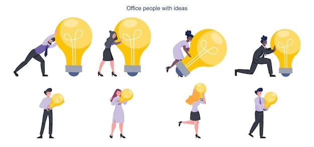 アイデアのコンセプト。比喩セットとして電球を持っているビジネスマン。