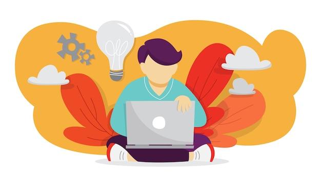 アイデアのコンセプト。創造的な心とブレーンストーミング。イノベーションについて考え、解決策を見つける。比喩としての電球。男はラップトップで作業し、発明を行います。図