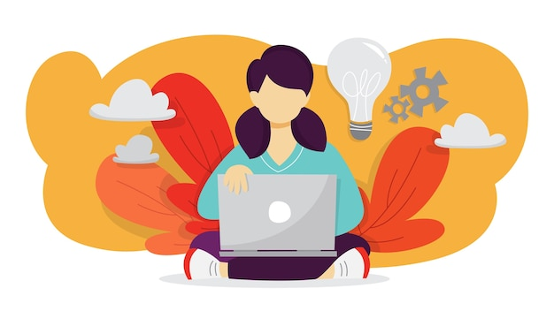 アイデアのコンセプト。創造的な心とブレーンストーミング。イノベーションについて考え、解決策を見つける。比喩としての電球。女性はラップトップで作業し、発明を行います。図