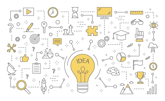 Idea concept. creative mind and brainstorm. light bulb as a metaphor of idea. set of innovation and education icons.  line  illustration