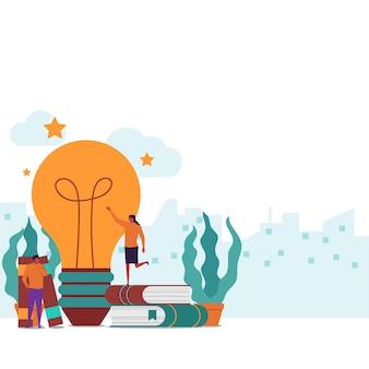 Idea creation flat couple hold big idea bulb with books around.