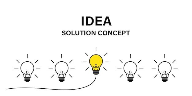 Идея творческой концепции. лампа идея бизнес-концепции. мощность энергии. вектор значок лампочки мозга.