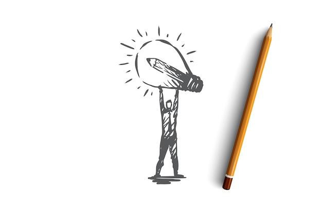 아이디어, 창조, 램프, 비즈니스, 혁신 개념. 손 개념 스케치에 번개 전구를 가진 그려진 된 남자를 손. 삽화.