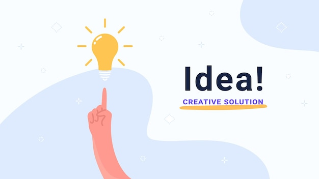 Idea and creative solution. flat vector modern illustration of human hand pointing to yellow bulb. concept design for banners, promo and landing pages with copyspace