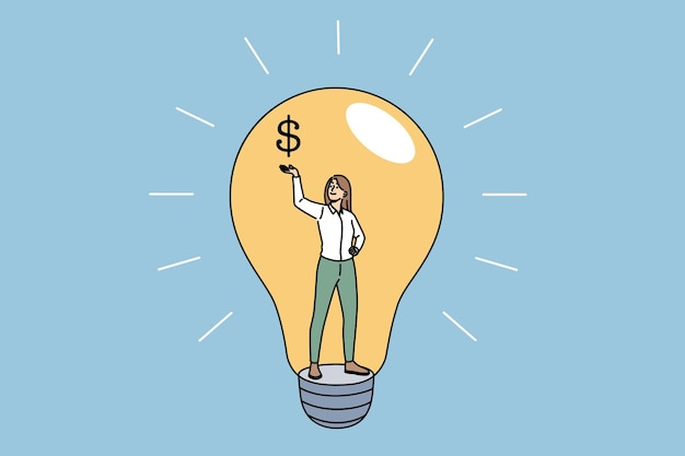 Idea, creativity and profit concept. young smiling business woman standing inside of light bulb holding dollar sign on raised hand vector illustration