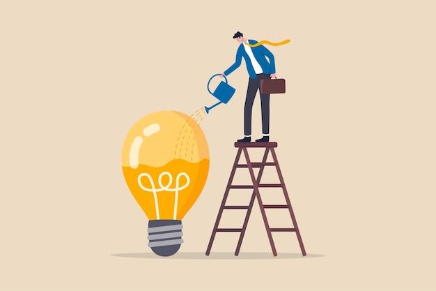 Idea development, skill improvement or career growth concept, smart businessman on ladder watering to fill in liquid in idea light bulb