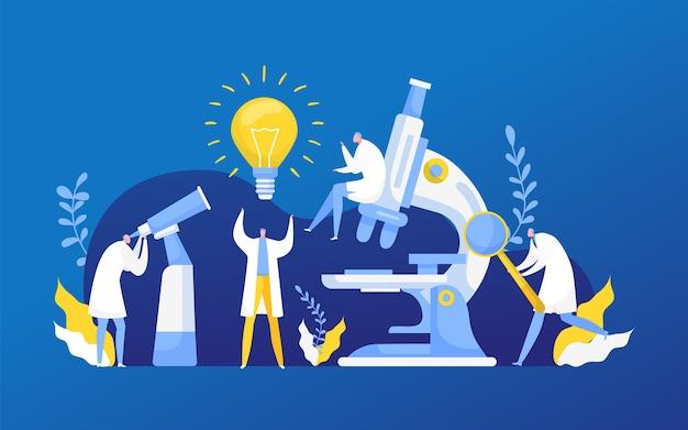 化学、生物学または医学におけるアイデア発見研究。洗面所を研究する科学を発見する新しいアイデアの電球。科学研究室の革新。