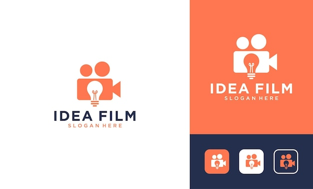 Idea film with negative space lamp logo design