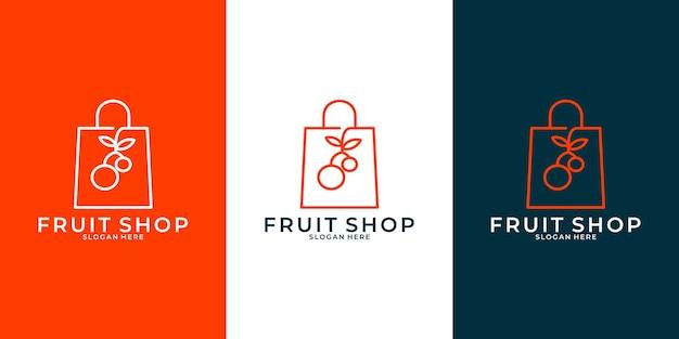 あなたのビジネスのためのアイデアフルーツショップのロゴデザインテンプレート