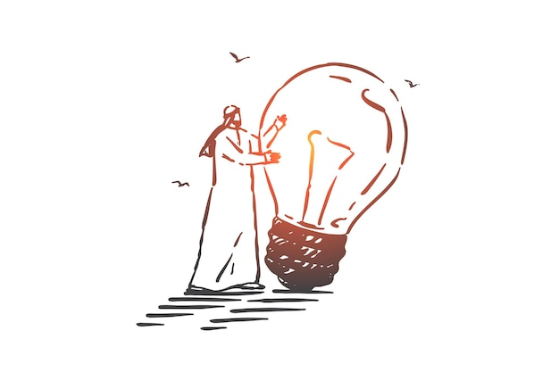 Генерация идей, иллюстрация эскиза концепции мозгового штурма