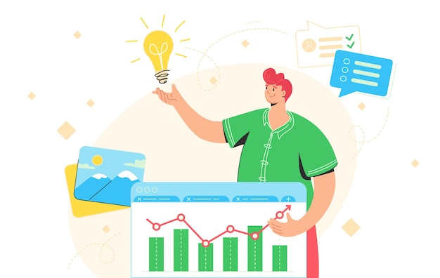 Idea generator for successful business. flat vector illustration of happy man standing near financial graph and getting an idea to solve a business issue. redhead character for planning and research
