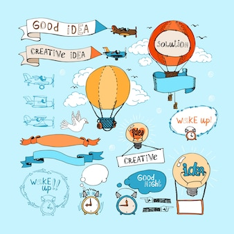 Idea hand-drawn elements. bulbs, airplanes, balloons and alarm clocks  in blue sky. ribbon banners