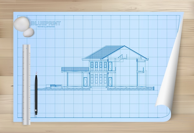 Idea of house on blueprint paper background